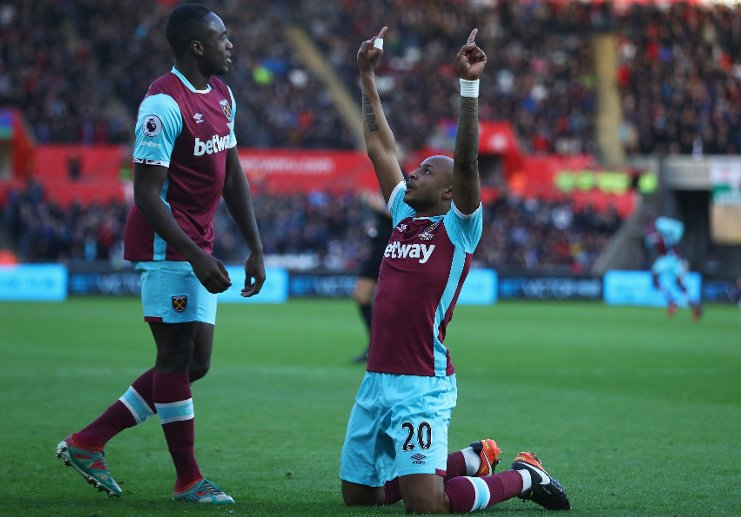 Andre Ayew happy after scoring against Huddersfield on Monday